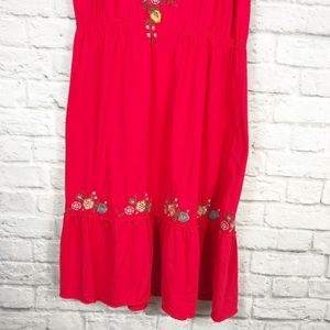 Johnny Was Dresses - Johnny Was Red Embroidered Midi Dress